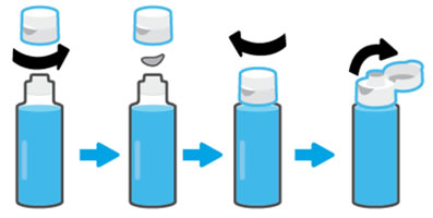 Removing the seal from a bottle with a flip-top lid