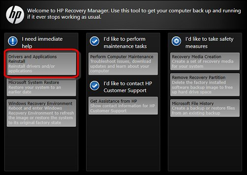 The Recovery Manager welcome screen, with the Drivers and Applications Reinstall selection encircled in red