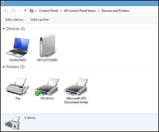 Open Devices and Printers window