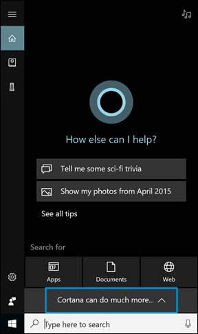 Clicking 'Cortana can do much more...'