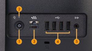Imagen de los puertos de E/S posteriores