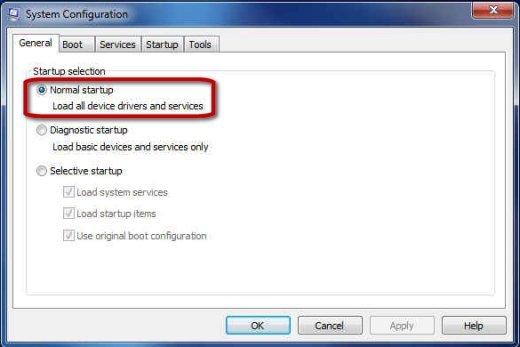 System Configuration General tab with Normal startup selected