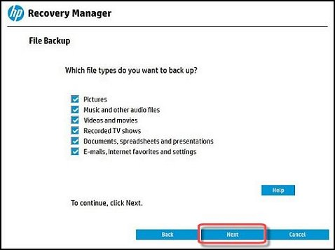 File backup with all files types selected