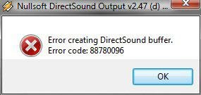 Image of an error message from the sound device.