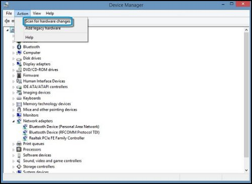 Device manager window with Scan for hardware changes highlighted