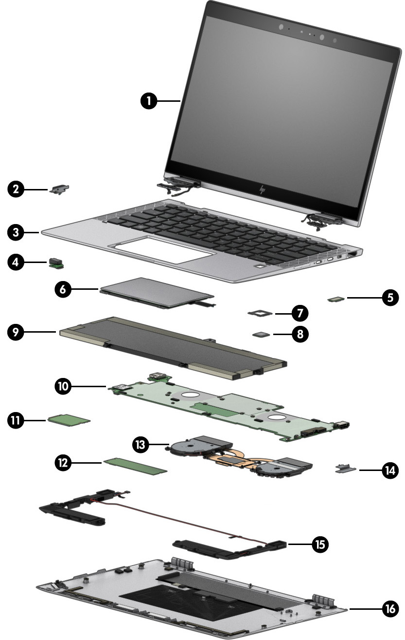 HP EliteBook x360 1030 G4 Notebook PC - Illustrated Parts | HP® Customer  Support
