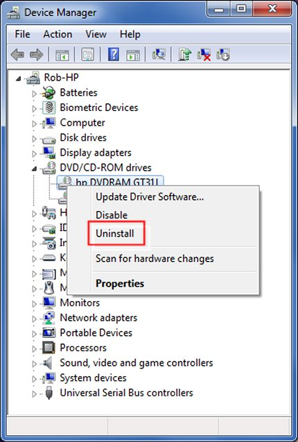 Uninstall driver in Device Manager