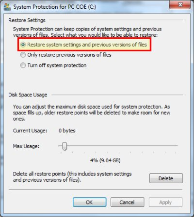 Illustration: Enabling System Restore