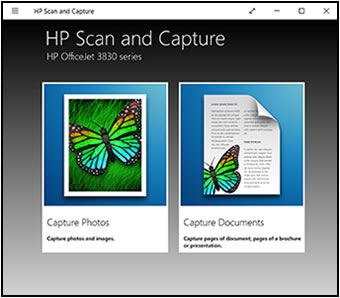 Ejemplo de la aplicación HP Scan and Capture