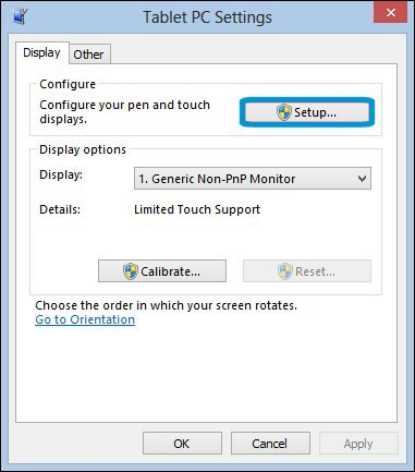 Setup button in the Tablet PC Settings window