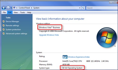 System Properties showing Windows Vista Business Edition 64-bit version