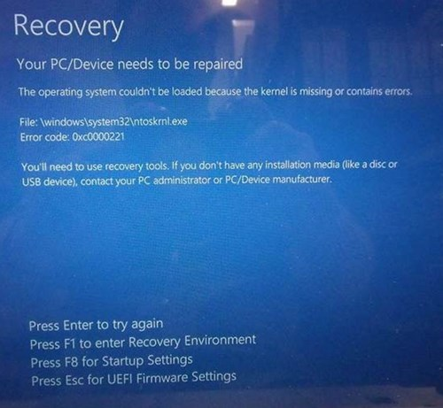 Recovery error messages