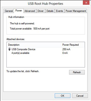 power surge on usb port windows 10