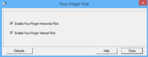 Four-Finger Flick settings window
