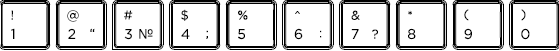Russian keyboard top row detail