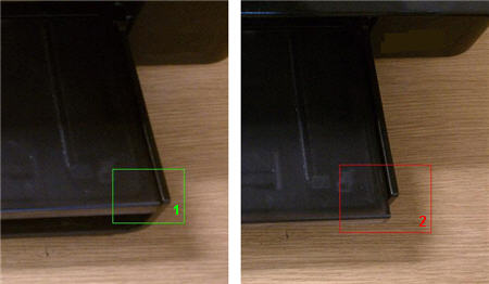 Image: Photo showing the correct alignment of the output tray in the product