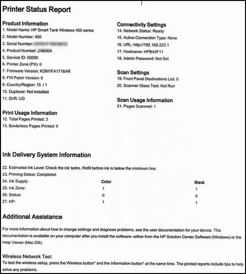 HP Ink Tank 310, 410 Printers - Printing Self-Test Pages   HP