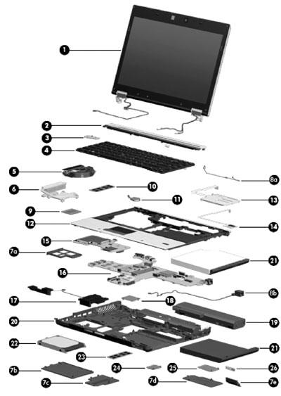 HP EliteBook 8440w Mobile Workstation  Spare Parts   HP