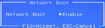 Network Boot screen