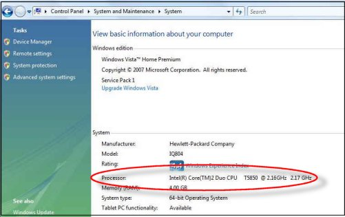 Viewing processor information in the System window