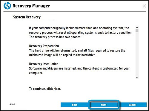 System recovery information