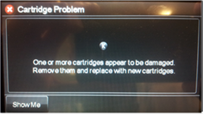 Printer control panel 'Cartridge Problem' error message