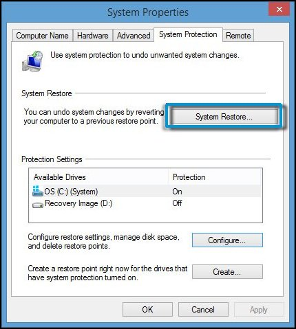 Selecting System Restore on the System Protection tab