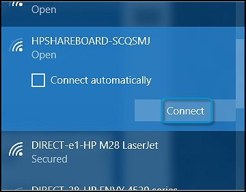 Connecting to the HPSHAREBOARD setup network