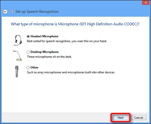 Microphone type options in the Ease of Access Speech Recognition setup wizard