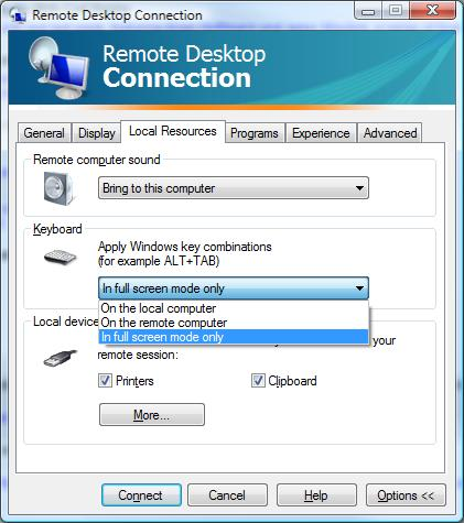 Remote Desktop Connection - Local Resources - Keyboard