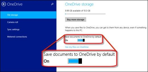 The slider to turn off or on the ability to automatically save documents to OneDrive