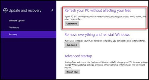 Image of Refresh your PC without affecting your files selected