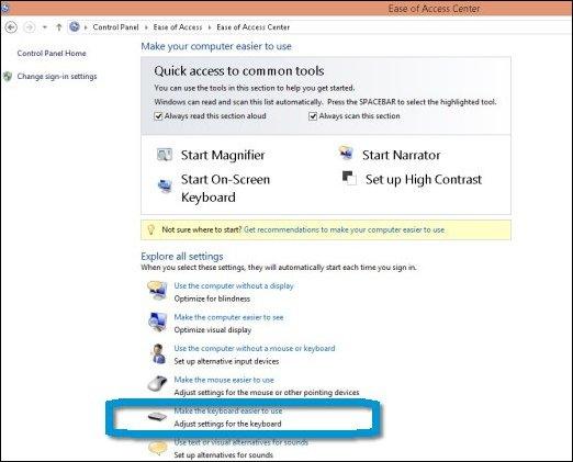 Haga clic en Facilitar el uso del teclado