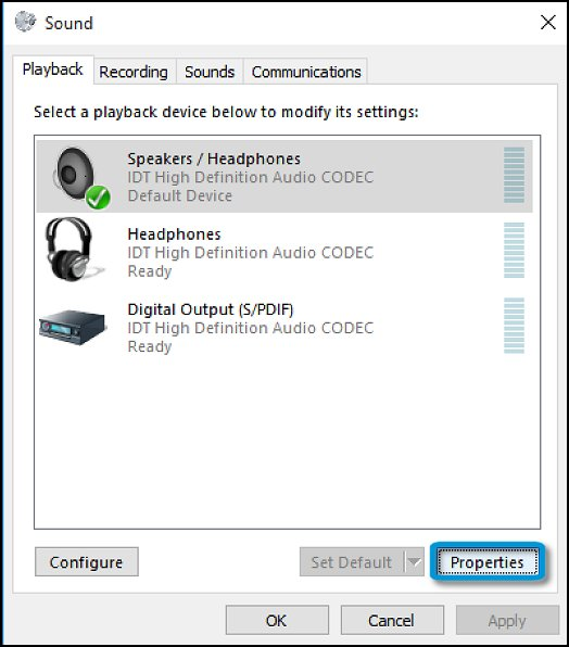 Sound Playback tab with Speakers/Headphones selected and Properties button highlighted