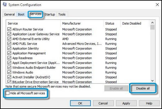 Services tab in System Configuration