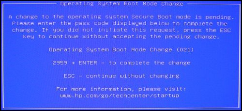 Image of the Boot Mode Change message