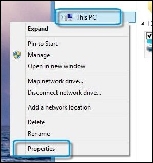 Right-click This PC and Properties selected