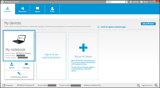 HP Support Assistant home screen