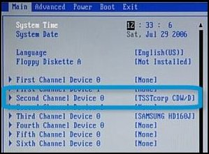 Example of CD/DVD drive listing in desktop BIOS version 6 or less, Second Channel