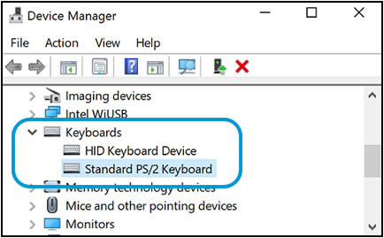 Keyboards selection in the Device Manager window