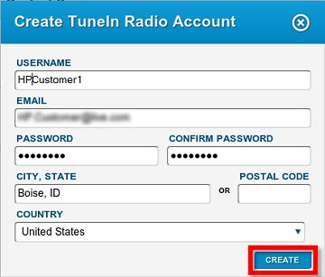 Image of the form to create a new TuneIn Radio account