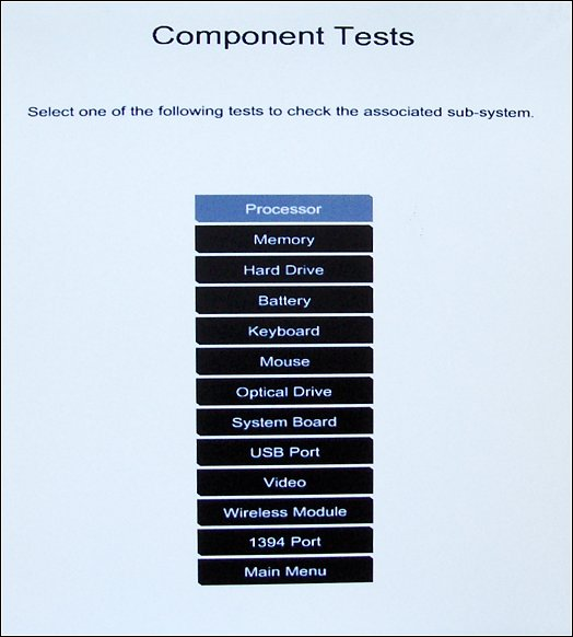 List of the Component tests