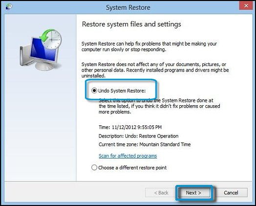 The screen to undo System Restore, with Next selected