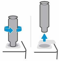 Поворот комплекта загрузки тонера против часовой стрелки на 180 градусов и его извлечение