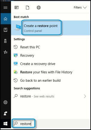 Creating a restore point