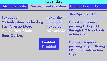Ventana de configuración del BIOS con la opción Configuración del sistema y el Modo de teclas de acción seleccionado