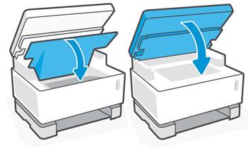 Закрытие верхней крышки и опускание сканера
