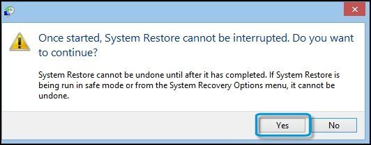 Warning that appears before beginning a System Restore