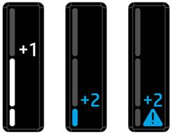"""Отображение """"+1"""" и """"+2"""" на индикаторе уровня тонера"""