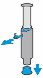 Снятие колпачка и кольца с крышки загрузки тонера